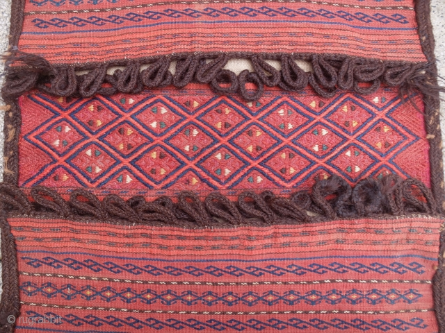 "Turkmen Ersari saddlebag. Pile skirt and corners. Great saturated colors. Size is 19.5"" x 41.5"" -  50cm x 106cm."