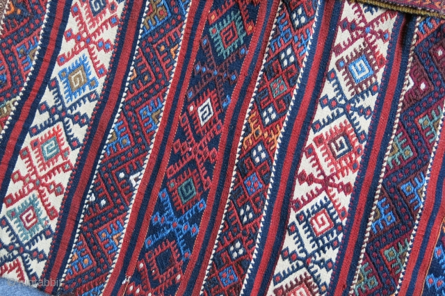 "South Eastern Turkey- Malatya Kurdish Chuval, both side extra weft weave with original strap. Good condition. Circa 1920-1930 size :  42"" X 26"" -- 106 cm X 65 cm"