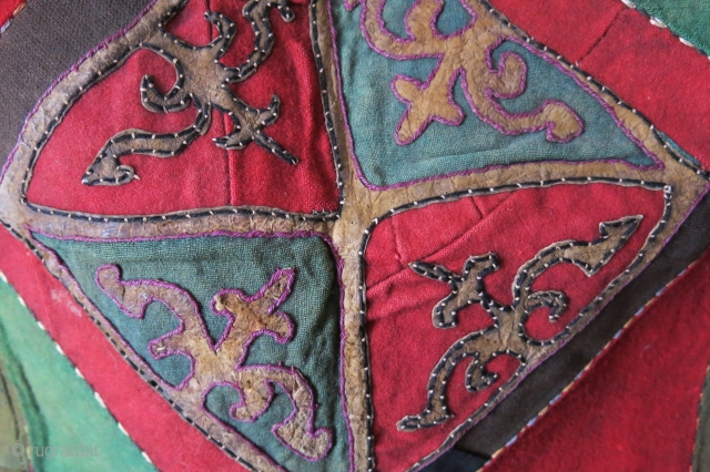 "Kirgiz Talismanic wall hanging  - Mirror cover. made with wool trade cloth and leathers with silk border stitching. One of the nice ones survived from 19th century. Size : 22.5"" X  ..."