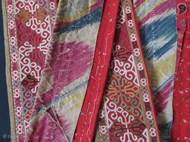 "Turkmen Chodor chapan's front complete collar. Great condition with very fine chain stitch embroidery. Original adras Ikat on the back/ Size: 102"" X 4 1/2"" - 260 cm X 11 cm"