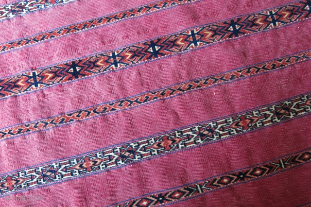 "Turkmen tekke pile band chuval face, fine Tekke weave with natural colors, couple little wears/ folded sides. Circa 1900 or earlier. size : 49"" X 28"" - 124 cm X 72 cm"
