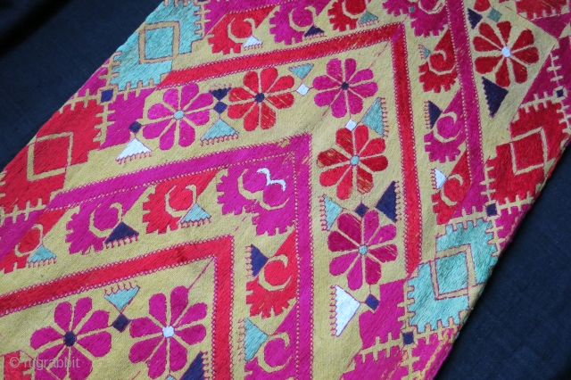"North Pakistan Swat valley floss silk embroidered pillow cover with backing. circa 1930s size - 26"" by 14.5"" - 66 cm X 37 cm"