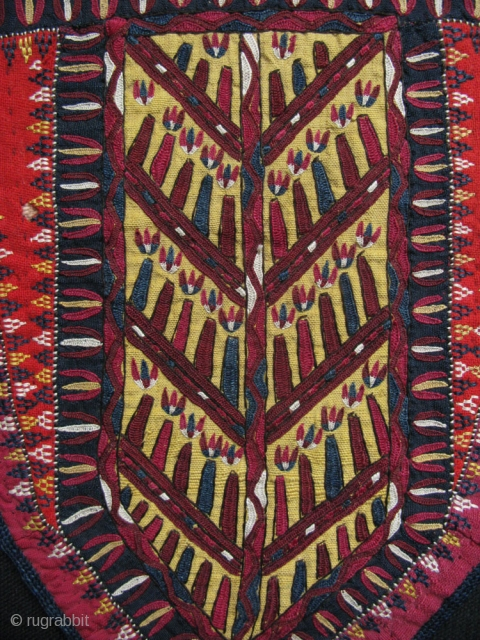 "Turkmen tekke camel trapping fragment- silk embroidery on silk. Circa  1900 or earlier Size: 11.5"" X 9"" - 29 cm X 23 cm"