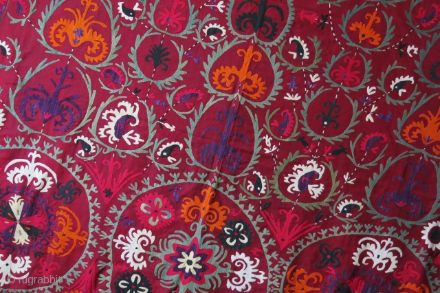 "Tajikistan - Lakai silk embroidery ceremonial horse cover. Plane red and white cotton backing. mostly natural colors. circa 1930s Size : 55"" by 49""  - 140 cm X 124 cm"