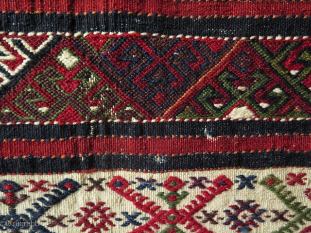 Anatolian Chuval from Gaziantep area. Cicim and sumak mixed weaving. Some moth damages as you can notice on close up images. Last three close up images taken outdoor in direct sunlight. Size as it is  ...