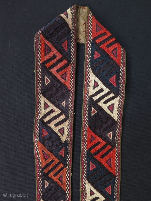"Turkmen Yomud silk embroidery woman's belt - 6 cm x 93 cm - 2.5"" x 36""."