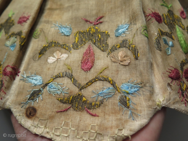 Ottoman textile, probably decorative lamp cover. Late 19th. century. Silk and metallic embroidery.