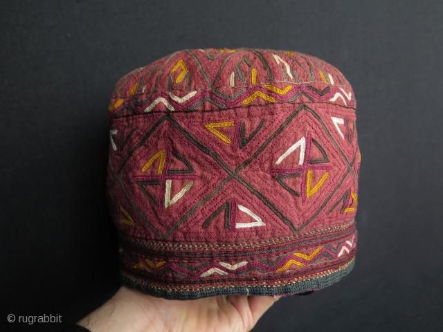 "Turkmen Tekke large size hat. Height 6.9"" - 17 cm and in diameters 8.2"" - 21 cm."