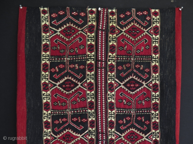 Anatolian Malatya Sinanli grain bag. Kilim and sumak weave with metallic yarns.