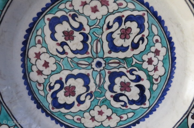 "Anatolian - Iznik Style Kutahya ceramic plate, Great condition and design. Circa mid 19th century or earlier. Size: 16"" diameter."