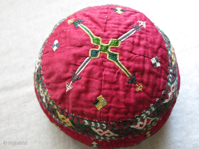"Turkmen Chodor tribal ceremonial hat. silk emrboidery on quilted cotton, lined with plain and Russian printed cotton.Circa- 1920 -1930s size 7. 1/2"" in diameter - 4.1/2"" tall"