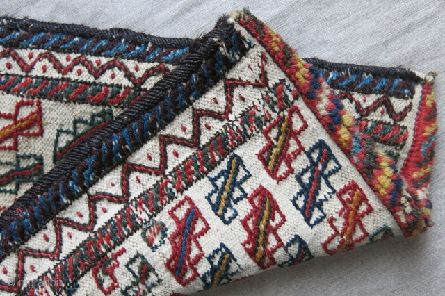 "Baktiari tribal Spindel or wooden utensil bag. wool and cotton weave with pile bottom to protect itself. Goat hair side wrapping. Size: 18"" X 11"" - 46 cm X 28 cm"