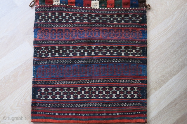 "Veramin area double bag - very saturated colors and extreme tight weave with soft wool. great conddition. Circa 1900.. size: 58"" X 25"" -- 147 cm X 64 cm"