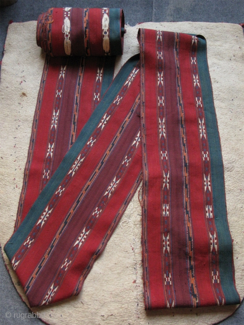 Turkmen Yomud tent band. Original condition. All saturated natural colors. Size; 13 inch by 49 feet - 35cm x 15 meters. Circa second half of 19th cent.