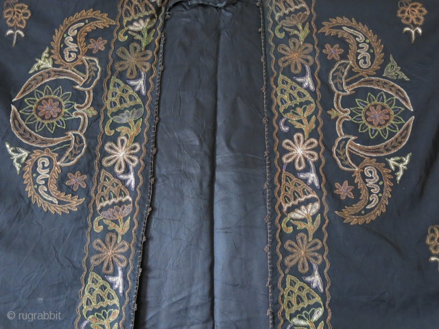 "Syrian - Aba- Woman's silk summer ceremonial overcoat.Fine silk and metallic embroidery on silk. Black silk lining. Circa 1900 - Size : 50"" X 36"" -- 130 cm X 92 cm"