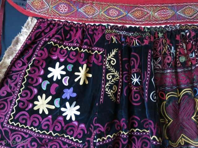 "Central Asia- Kirgizstan, Pragnacy Skirt. Traditional fine Silk chain stitch embroidery on Velvet. Great saturated natural dyes. a rare ethnographic item. Circa 1900 -1920. Size : 53""-55"" by 28"""