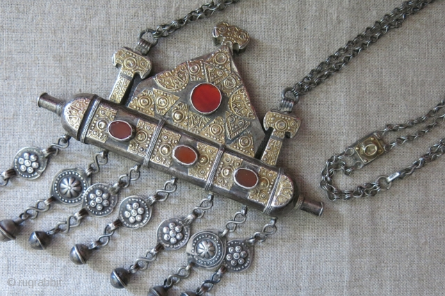 Turkmenistan Yomud Tumar, tribal talisman silver necklace. covered with gold plauques to make it look richer on front, lower part tube is for the talisman verses to keep inside. Circa 1900 or  ...