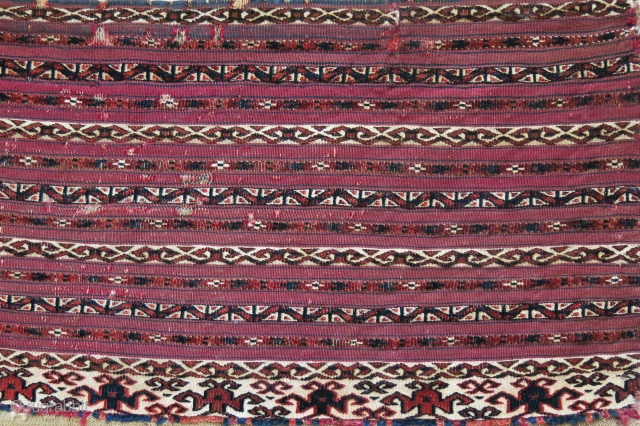 "Turkmen small AK torba pile and flat weave, whites are cotton, sewn tears and wears but surviving, No backing, circa 1900 Size : 33"" X 14.5"" - 84 cm X 37 cm"