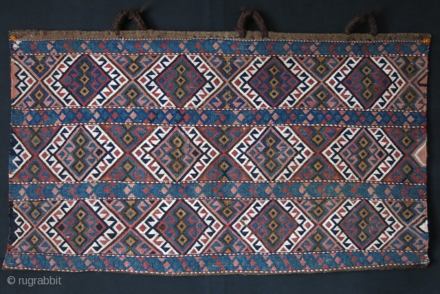 Shahsavan Karadag Sumak wool and cotton bedding bag side panel with original handles. Plain sumak weave. two tiny area repairs, blue / green next to each other. soft peach color has fading.  ...