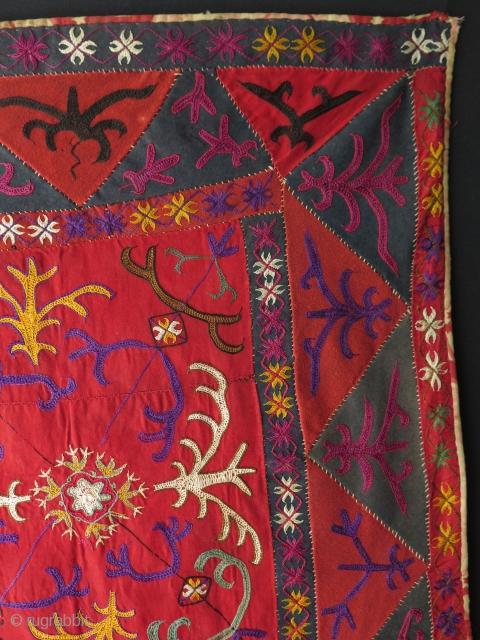 """Kirghiz aina khalta. Silk embroidery on banat. Size: 24"""" x 27"""" - 62 cm x 69 cm."""