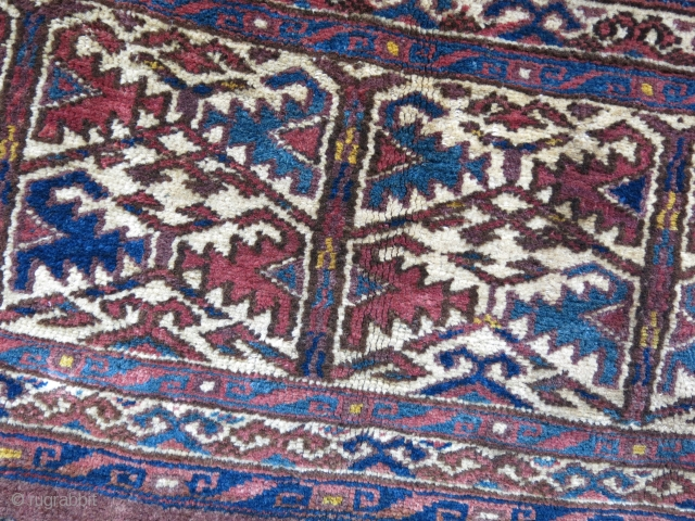 "Turkmen Yomud small torba face, can be a germesh, all wool natural colors. Small repair on one corner and center with old Turkmen yarn. Circa 1900 - size : 30"" X 15""  ..."