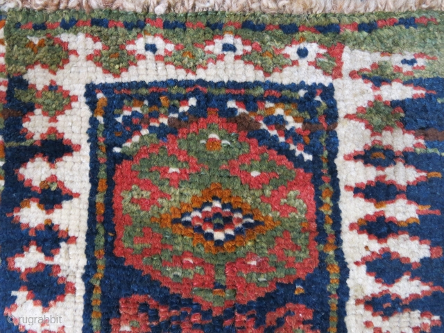 "Lori- gabbeh tribal bag face with great colors. Circa second half of 19th cent. Size : 15"" X 16"" - 41 cm X 38 cm"