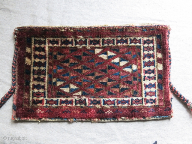 "Turkmen Yomud torba, Open to right Asymmetrical knot, 14"" X 8.5"" - 36 cm X 22 cm"