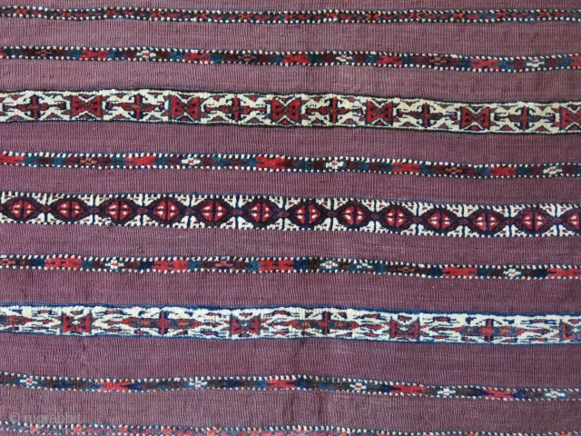 """Turkmen Yomud Chuval, symmetrical knotted pile and flat weave with goat hair warps, saturated all natural dyes. Circa 1900 or earlier. Size : 43"""" X 28.5""""  - 109 cm X 72  ..."""