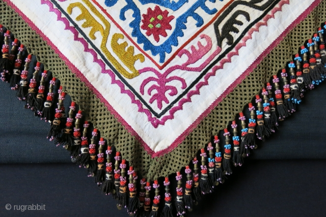 "Kirgizstan Silk embroidery tribal head wear cover. Braided silk tassels.A fe stains very light brown stains from keeping in chest. Circa: 1920 - 1930. size : 37"" X 34"" - 3"" long  ..."