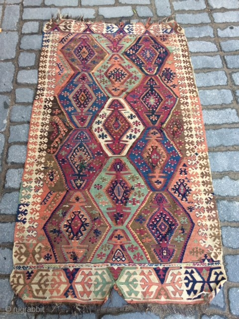South-east Anatolian Adana Kilim.Small size.All naturel colors.Needs repair.
