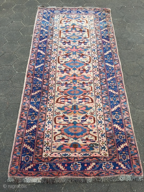 Antique Persian Gerus Bidjar rug on wool foundation, beautiful camel ground color, good condition. Size: circa 230x111cm / 7'6''ft x 3'7''ft