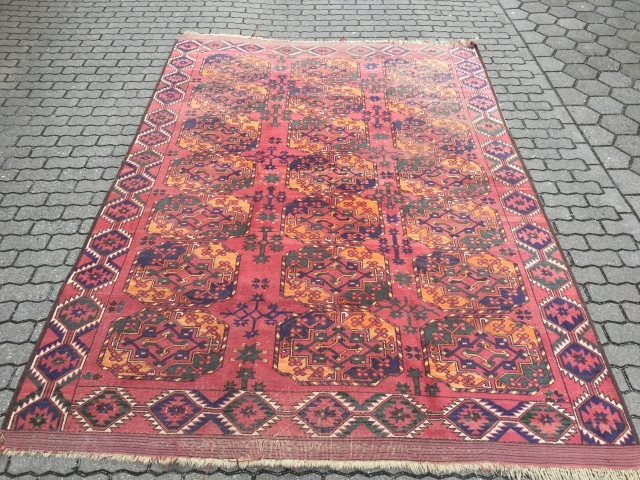 Antique Turkmen Ersari main carpet, age: circa 1850. Beautiful green, blue and yellow colors, powerful border. size: ca. 310x215cm / 10'2''ft x 7ft, some localized wear, still very beautiful.