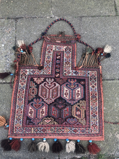"""Antique Salt bag or so called """"Namakdan"""" woven by Afshar tribes of Southpersia in Soumakh technique. Very nice collector´s piece. Size: 73x63cm / 2'4'' x 2ft"""