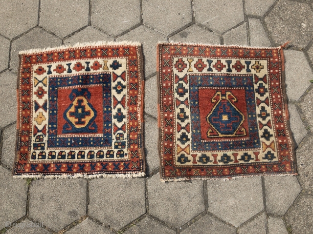 Pair of antique Northwest Persian bagfaces (Shahsavan?), size of each: ca. 50x48cm / 1'7''ft x 1'6''ft