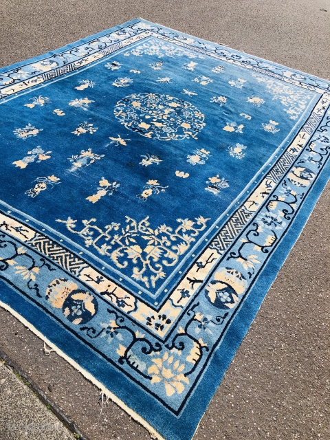 Fresh arrival from an old German estate: Antique Chinese Peking carpet with a beautiful sky blue ground color. Size: ca. 325x245cm / 10'7''ft x 8'1''ft. As found condition: some localized wear, still  ...
