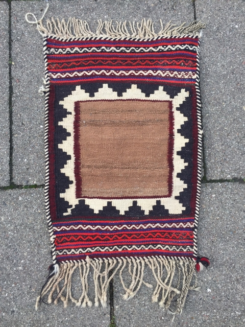 Antique Sofreh woven by Qashqai tribes of Southpersia, age: early 20th century. These small Sofreh weavings were used as a wrapping or underlay for the hot bread which came out of the  ...