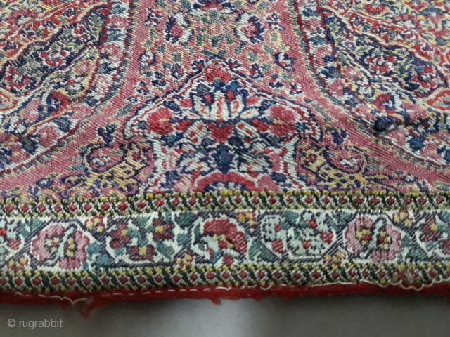 Extremely rare antique kashmir shawl. It has a figures of leopard and birds all around shawl.its a great peace but unfortunately it has been cut from the centre so its a half  ...