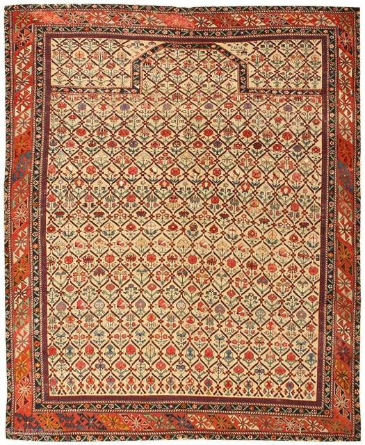 "Antique Dagestan Prayer Rug 43907, Size: 3'6"" x 4'4"", Origin: Russia, Circa: Mid 19th Century  - Here is an exceptional antique Oriental rug - an antique Dagestan carpet, woven in the Caucasus region during  ..."