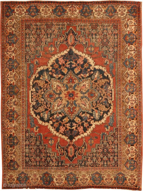 "Antique Persian Senneh / Senna 460, Size: 3'5"" x 4'6"" Origin: Persia, Circa: Mid 19th Century -This lovely, eye-catching antique Oriental rug – a Senneh piece made in Persia some time during  ..."