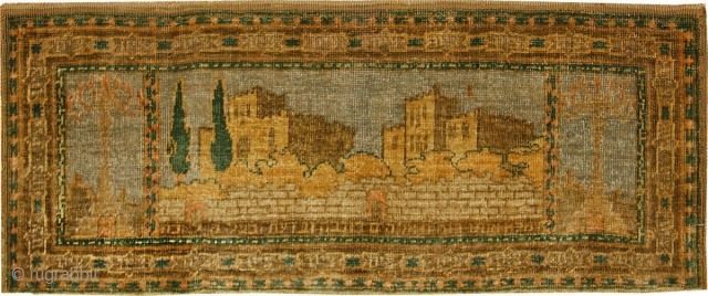 Antique Silk Bezalel Rug 46984, Size: 1' x 2', Origin: Jerusalem Israel Circa: Early 20th Century (First Quarter) - Born out of the Bezalel Academy and an art movement with a powerful association  ...