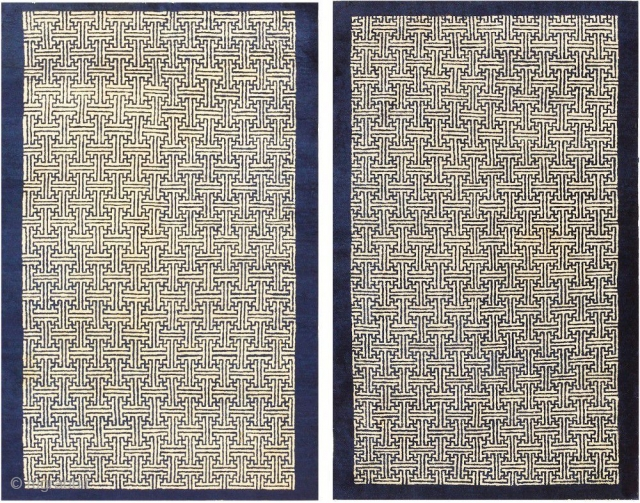 "Small Pair Of Antique Chinese Rugs 48181-48182, Size: 3' x 4'7"" each, Country Of Origin: China, Circa Date: Turn of the Twentieth Century - Here are a pair of intriguing antique Oriental  ..."