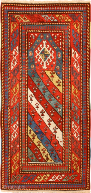"Antique Caucasian Genghi Prayer Rug 49096, Size: 2'8"" x 5'2"", Country of Origin / Rug Type: Caucasian Rugs, Circa Date: 1880 - This prayer rug brings a vibrant warmth into any space,  ..."