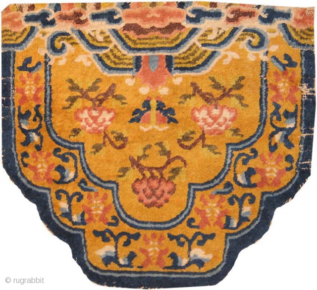 Antique Chinese Rug 2166, Size: 2' x 2', Origin: China, 19th Century - This fascinating and unique antique Oriental rug  -- an antique Chinese rug made some time during the nineteenth century --  ...