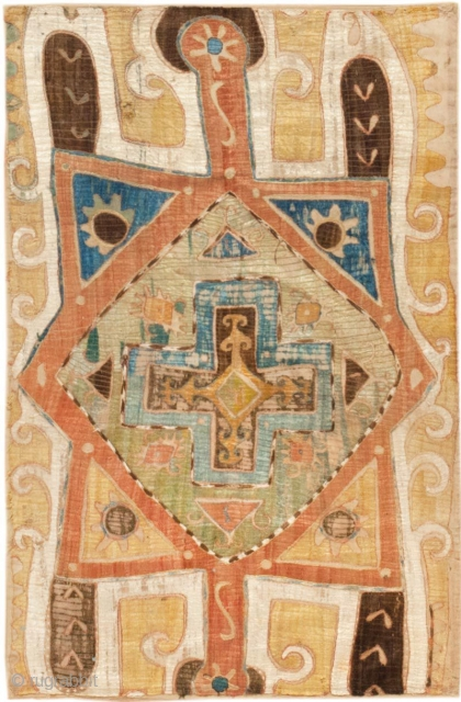 """AntiqueKaitagEmbroidery 45207, Size: 1'8"""" x 3'9"""", Country of Origin: Caucasus, Circa Date: 1900 - Here is an absolutely beautifulantique Kaitagembroidery that was originally woven in the Caucuses some time toward the turn  ..."""