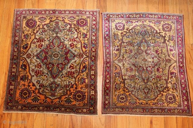 "Pair of Antique Persian MohtashemKashan Rug 47047 - 47048, Size: 2' x 2'8"", Origin: Persia, Circa: Last Quarter of the 19th Century - These marvelous antique Persian Mohtashem Kashan rugfeature robust colors,  ..."