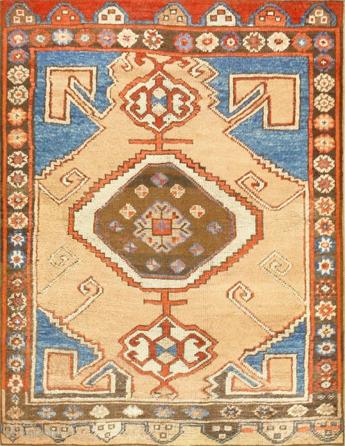 "Tribal Antique Turkish Karapinar Rug 47393, Size: 3'5"" x 4'5"", Origin: Turkey, Circa: Final Decade of the 19th Century - Here is a beautifully composed antique Oriental rug - an antique Turkish  ..."