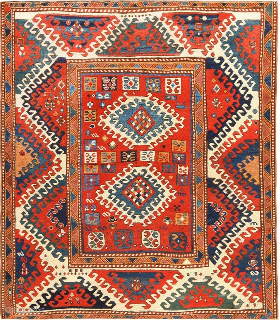 "Beautiful Tribal and Primitive Antique Caucasian Borchalou Kazak Rug 49094, Size: 5'2"" x 6', Country of Origin / Rug Type: Caucasian Rugs, Circa Date: 1870's  - Vibrant colors and bold designs are displayed in  ..."