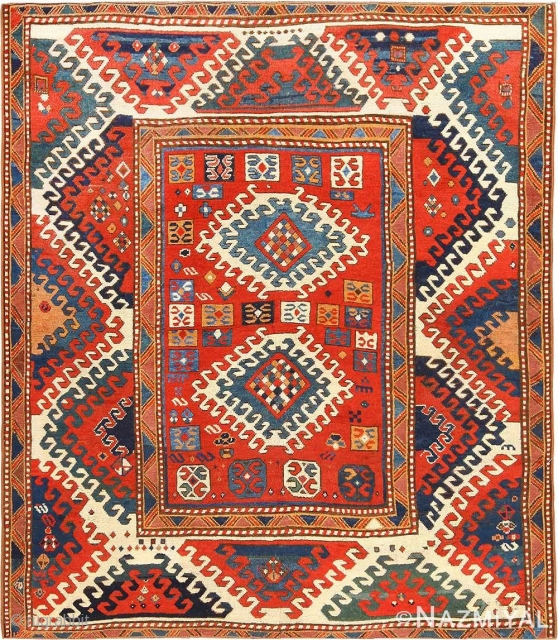 ANTIQUE CAUCASIAN BORCHALOU KAZAK , SIZE 5'2 X 6' ( 1.57 M X 1.83 M ). This rug is one of the many antique and vintage rugs in our upcoming auction on June  ...