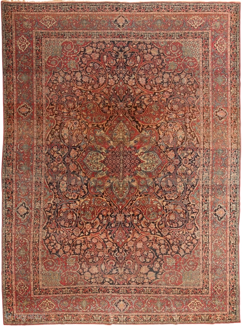 "Antique Persian Kerman carpet , Circa 1920's. Size is 9' x 11'9"" . This rug is part of our upcoming auction on June 18th.  This auction includes antique rugs, vintage  ..."