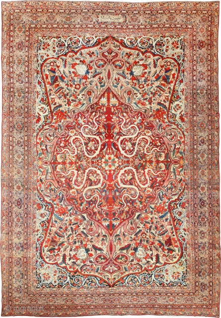 Extremely Fine Large Size Silk and Wool Antique Persian Lavar Kerman Rug, Country of Origin / Rug Type: antique Persian rug, Date: Antique Rug Circa Late 19th century – True to many  ...